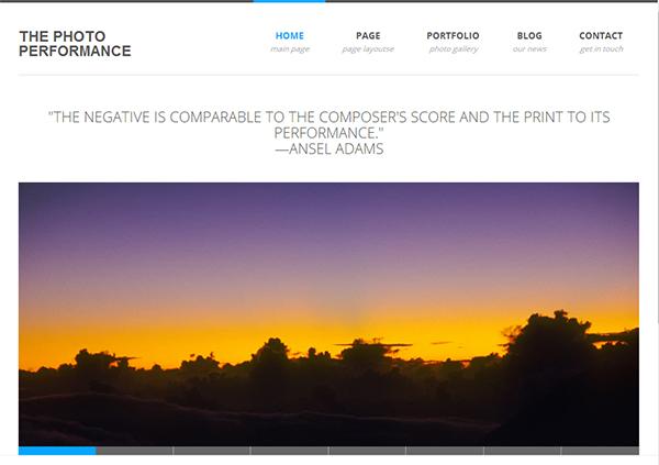 screenshot of new Photo Performance design based on the Creative Folio template