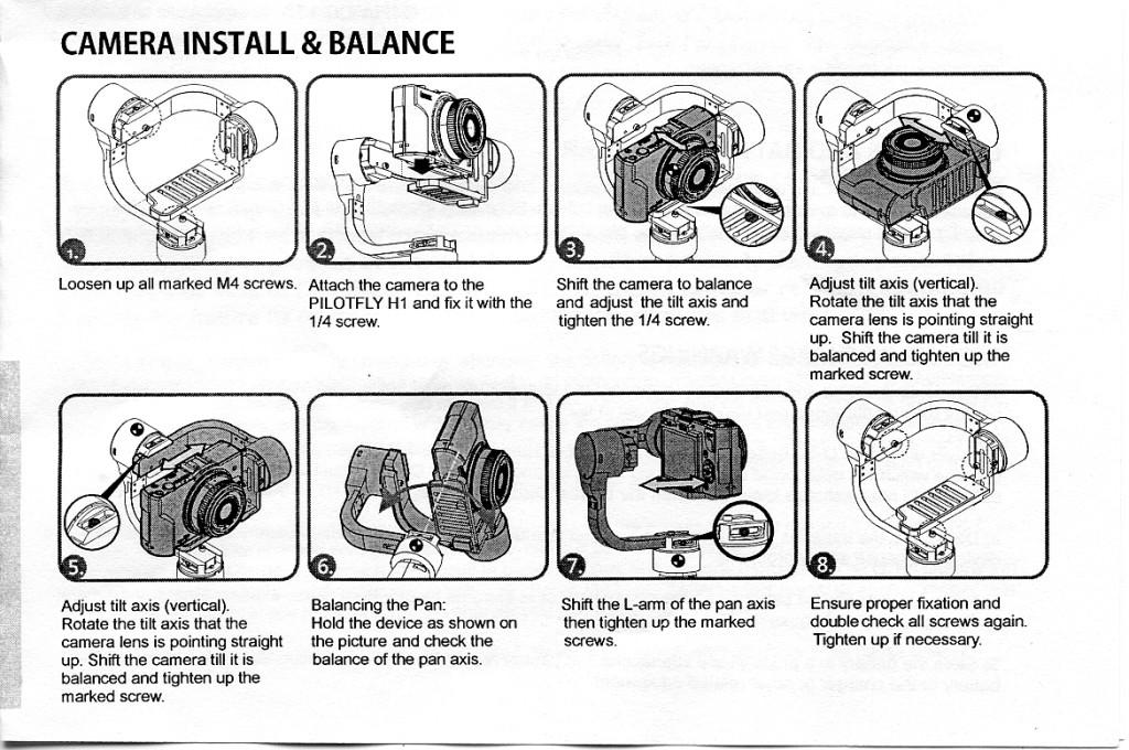 Pilotfly H1+ Gimbal Stabilizer Balancing Instructions