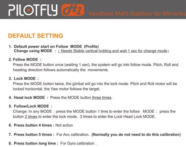Pilotfly H1+ operating modes