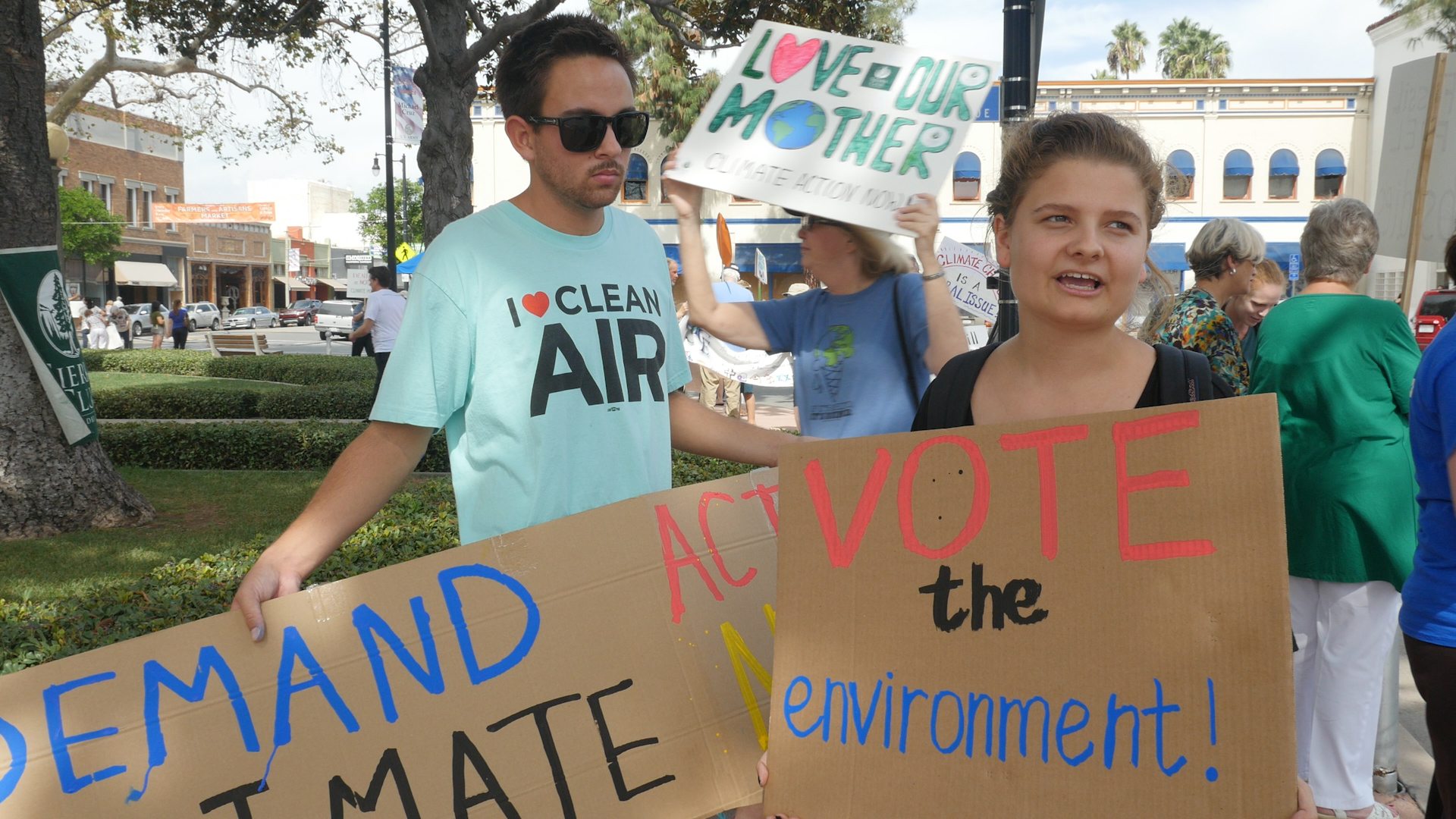 Participants in climate change rally