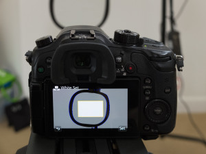 Shooting a gray card to set a custom white balance in the GH4