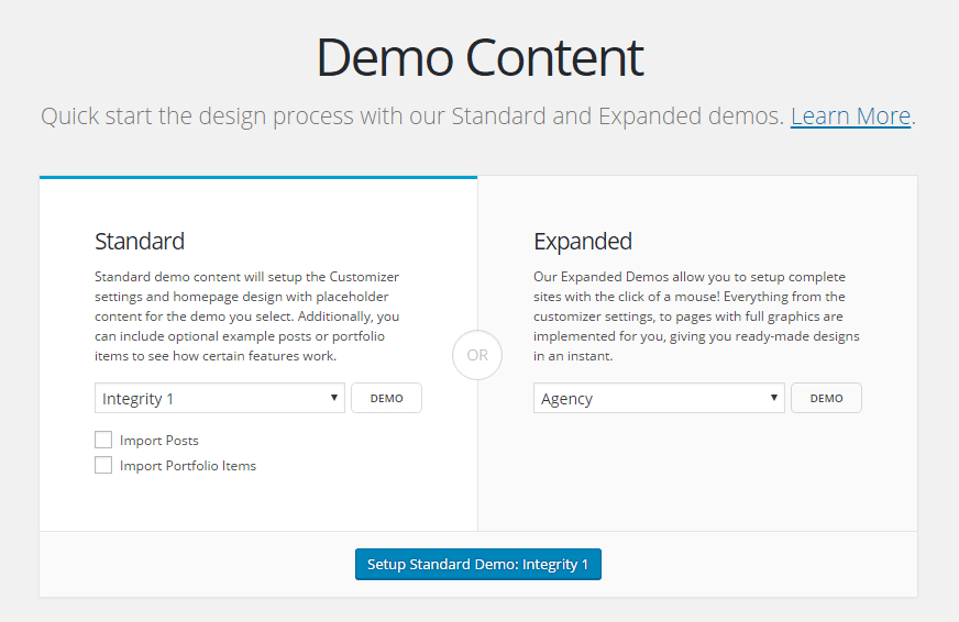 WordPress X theme Demo Content