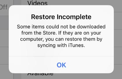 iPad error message